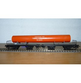 ELECTROTREN  2001 couplage 2 wagons plats avec tube TUBOS y FORJAS  S.A. Bilboa RENFE BO