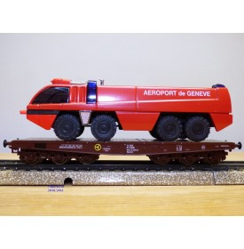 Märklin  Cursor  4849,  wagon plat  type Samm chargé d' un camion de pompiers Aéroport de Genève ÖBB   neuf    BO