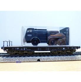 Märklin  4866,  wagon plat  type SSyms Köln  chargé d' un camion KAELBLE  Jumbo  DRG    neuf    BO