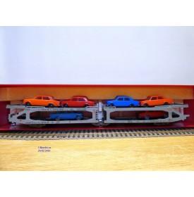 RIVAROSSI véro 2048, , wagon porte autos Type Pay N° 500 900  Ausiliare S.p.A .chargé FIAT 1800   FS  neuf   BO