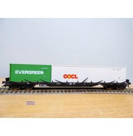 FLEISCHMANN  5250 K , wagon plat à ranchers conteneurs  type Res 687  conteneurs 40' OCL et 20' EVERGREEN   DB BO
