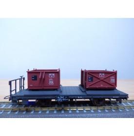 BEMO 2258 117, wagon plat  type Kk-w  N° 7347 chargé de 2 bennes  à gravier   RhB   neuf   BO