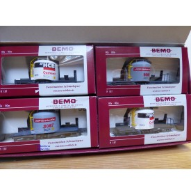 BEMO HOm  7460 150,  Coffret 4  wagons silos à ciment type Uce Mohrenköpfe  RhB   BO