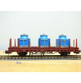TRIX Express International  / Röwa  3612, rare wagon plat à ranchers chargé 3 tours de refroidissement  DB  neuf  BO