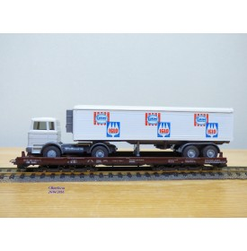 LILIPUT ( WIKING  528 a/1 ) 200 L ,   wagon surbaissé Rollende Landstrasse et camion Mercedes  ESKIMO  IGLO Neuf   BO