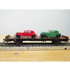 Märklin  ( Brekina )  4795 . 10,  wagon plat Sm Augsburg  et  Citroën 15 Six / DKW  Wanderer   DR   Neuf