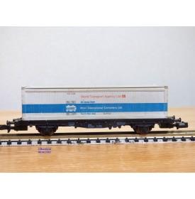 FLEISCHMANN  8242,  wagon plat porte conteneurs chargé d' un conteneur de 40 ' World Transport Agency   DB  BO   N