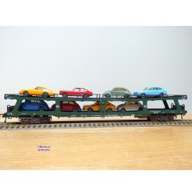 FLEISCHMANN 5285,  wagon porte autos chargé  8 autos  DDm 915   DB  BO