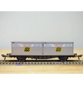 Fleischmann 5235,  wagon plat porte conteneurs Lbs 598 CROWE DB   BO