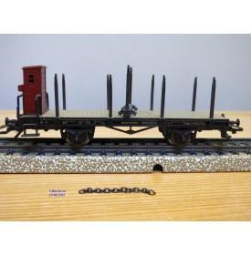 Märklin  4697 ,  wagon plat type R 02 chargé éléments de charpente HUMMEL     DB    Neuf    BO