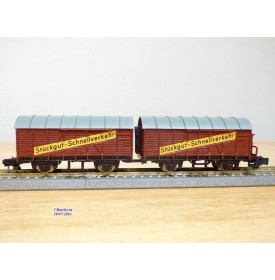 ROKAL 00256, couplage de 2 wagons couverts dont 1 à guérite  à guérite    DB   neuf  BO