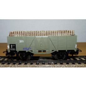 Märklin ancien  311 H b (g) . 7 wagon tombereau chargé bois DB BO