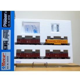 ROCO 44009 / PREISER 30726 , set 4 wagons couverts  cirque KRONE   DB  Neuf BO