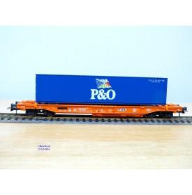 ROCO 46570, wagon poche type Sdkmss chargé d' un conteneur de 40'  P&O  SNCB / NMBS  Neuf   BO