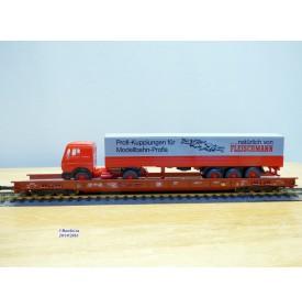 FLEISCHMANN  5276,  wagon surbaissé type Saadkms.690 Rollende Landstrasse et camion MERCEDES    DB   BO