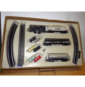 JOUEF  ??? Mecanic Trafic , rare coffret mécanique 1 loco, 3 wagons et 3 autos   SNCF     BO