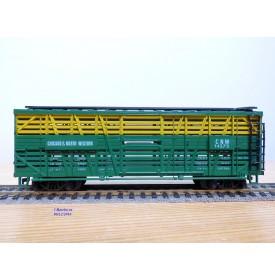 AHM ( Liliput) 5275B, wagon à claire voies pour transport de bétail Chicago and Northwestern   CNW   neuf     BO