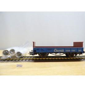 LILIPUT 237 10, wagon plat type Klm  chargé de tuyaux ETERNIT  ÖBB   neuf  BO