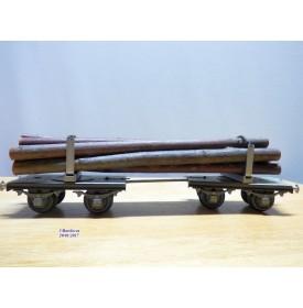BUCO 8668.7, couplage de wagons plats ( Dreschemelwagen )chargé de troncs  SBB  BO