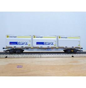 MÄRKLIN  47078-03 ,  wagon plat porte conteneur type Sgnss chargé de 3 conteneurs Woodtainer XXL   SBB   Cargo  neuf   BO