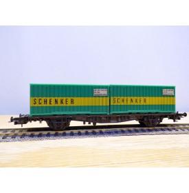 RÖWA 2322, wagon plat porte conteneur  SCHENKER    DB     BO