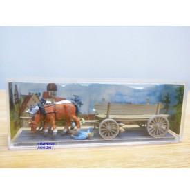 PREISER  Exclusiv  469,   attelages 2 chevaux de trait, conducteur et charrette en bois  Neuf   BO