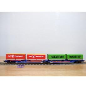 ROCO 47101, couplage porte conteneurs type Sggmrss 715 88  Kombiwaggon  HANGARTNER  FREY TRANSPORT  DB     Neuf    BO