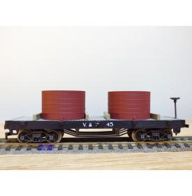 AHM  POCHER  6255, wagon plat à citernes  ancien ( old time tank  car )   V&T  RR  N°: 45    BO