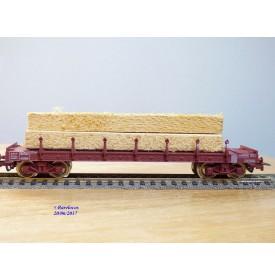 JOUEF 655000, wagon plat  à ranchers  à 2 bogies type  Ro2yw  chargé de poutres   SNCF  neuf   BO