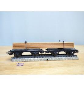 Märklin 4665, couplage de 2 wagons à traverses pivotantes chargé de planches   neuf   BO