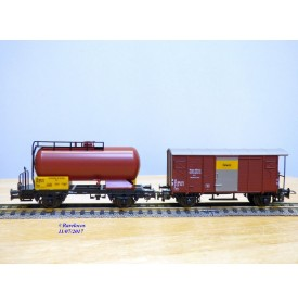 LILIPUT 810 50, boîte de 2  wagons Oelwehr, citerne et couvert à plate forme type Gklm    SBB   neuf    BO