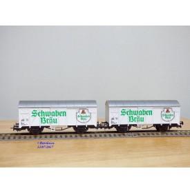 LILIPUT 229 05, wagons couverts pour  bière  SCHWABEN BRAU   DB  neuf   BO
