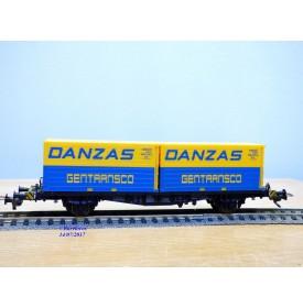 Fleischmann 5233, wagon plat porte conteneurs Lbs 598  BTmms   DANZAS  GENTRANSCO  DB    neuf    BO