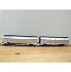 ROCO 44019, couplage de 2 wagons à parois coulissantes type  Habbins  DELACHER + CO   ÖBB   neuf   BO