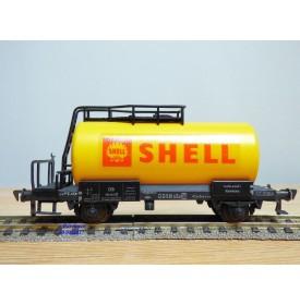 FLEISCHMANN 1475 SH,  wagon citerne ancien  à plate forme de serre freins  SHELL   DB   neuf    BO