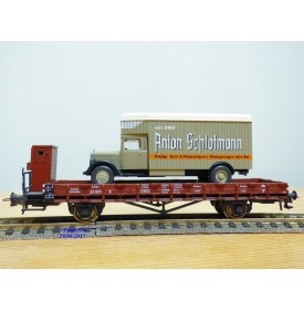 ROCO 47722,  wagon plat  à guérite chargé d' un camion Mercedes Anton Schlotmann ( WIKING )  Neuf   DR    BO
