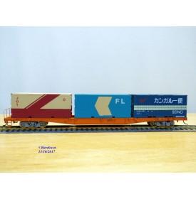 TOMIX   350000, wagon porte conteneurs chargé de 3 conteneurs de 20'  JNR  neuf  BO