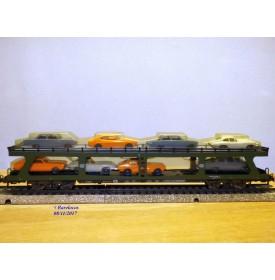 Märklin 4074,  wagon porte autos type DDm 915 chargé 8 auros DB  Autozug  neuf   BO