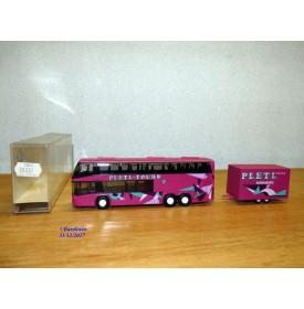 Rietze 80081 , autocar  NEOPLAN Skyliner et remorque  PLETL   Neuf   BO
