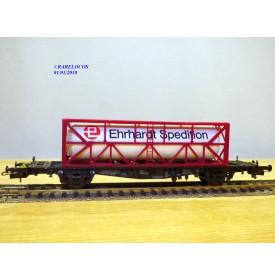 RÖWA 2324, wagon plat porte conteneur   EHRHARDT  SPEDITION    DB     neuf    BO