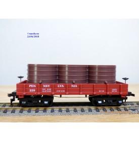 MANTUA 723 020, wagon plat ancien à bogies avec citernes Pennsylvania PRR  neuf  BO