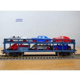 JOUEF  M654, wagon porte autos type Hzf  chargé de 6 voitures   SNCF  neuf   BO