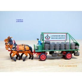 PREISER  462, remorque hippomobile  de livraison de boissons   Landwehr Bräu  Neuf   BO
