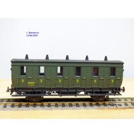 MMM RG / CLAREL  203 / 1613 , voiture ancienne  3 ème   classe  type C6    N° 6217  SNCF   neuf   BO