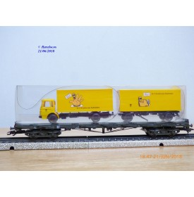 Märklin PostMuseum 1995 84668 / 95701 / 63-06, wagon plat à bogies type SSlmas 53 + camion MAN Deutsche Post  DB  neuf  BO.