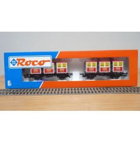 "ROCO 46997, couplage de 2 wagons plats type Btmms 54 chargés de cadres REI "" Von Haus zu Haus""  Neuf BO"