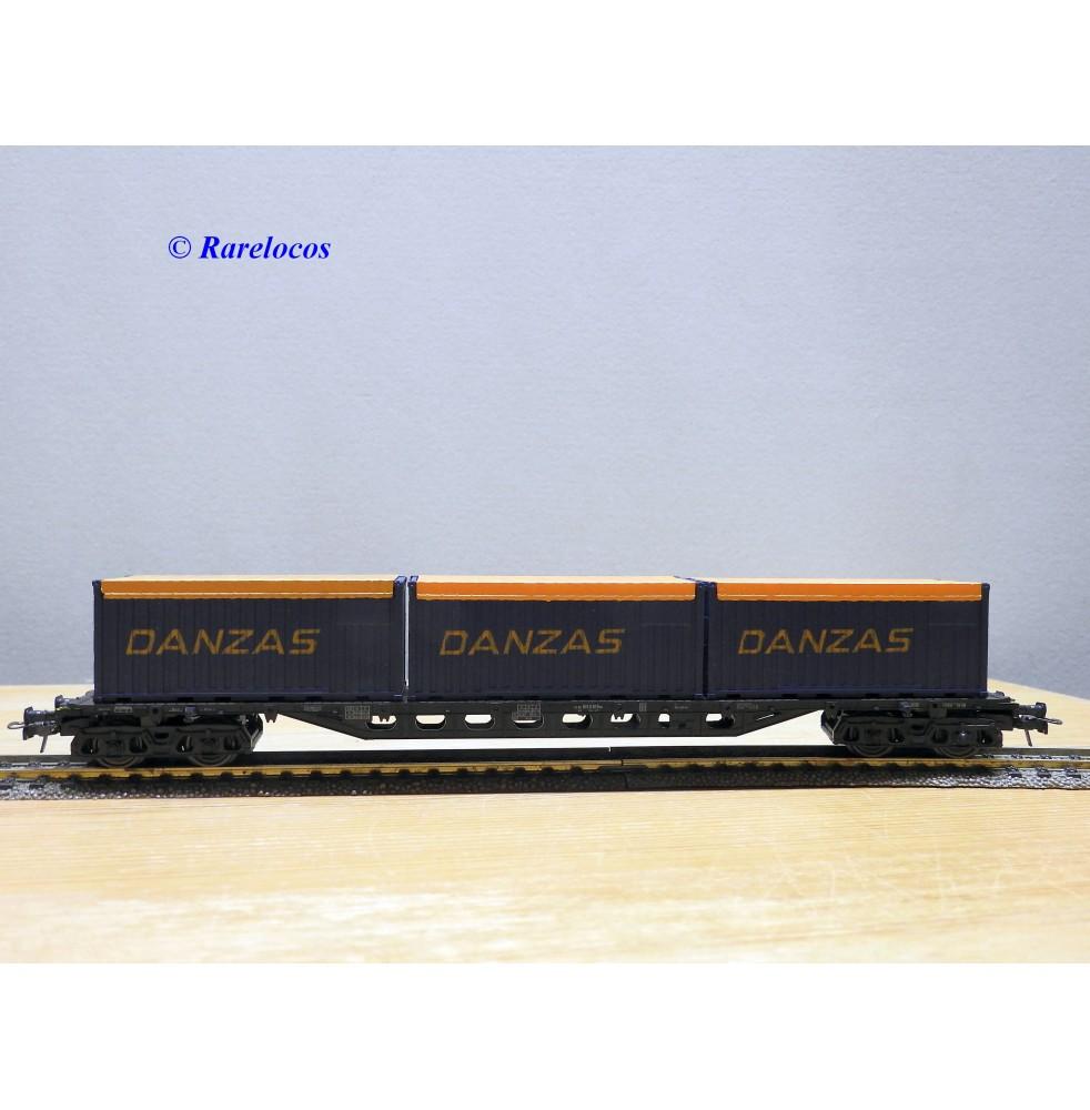 ROCO 4363, wagon plat à ranchers  chargé de conteneurs de 20'  DANZAS  DB  Neuf   BO