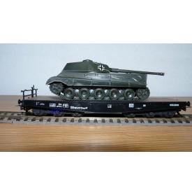 LILIPUT 212p, wagon plat pour charges lourdes chargé d'un char Königstiger allemand DB  BO