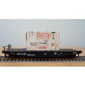 LILIPUT 212K, wagon plat pour charges lourdes type SSym 46 chargé d'une caisse en bois DB  BO