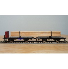 FLEISCHMANN  1493 , couplage de 2 wagons à tablier rotatif (Drehschemelwagen) chargé de bois  DB BO
